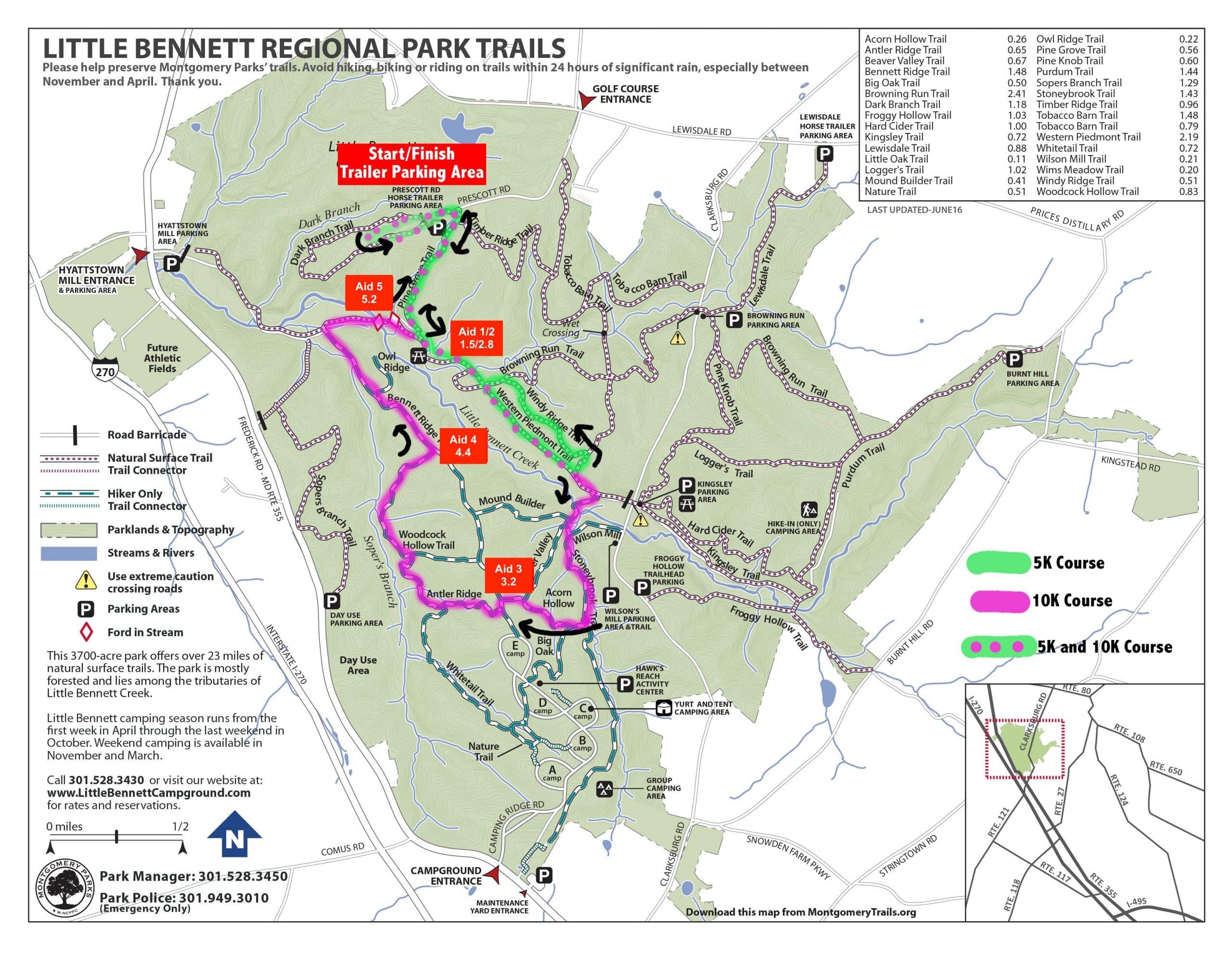 Little Bennet Blue Crab Bolt Trail Running Race Course Map